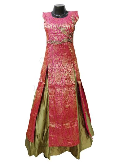 Readymade-Broket-Dress-with-Gold-Silk-Skirt